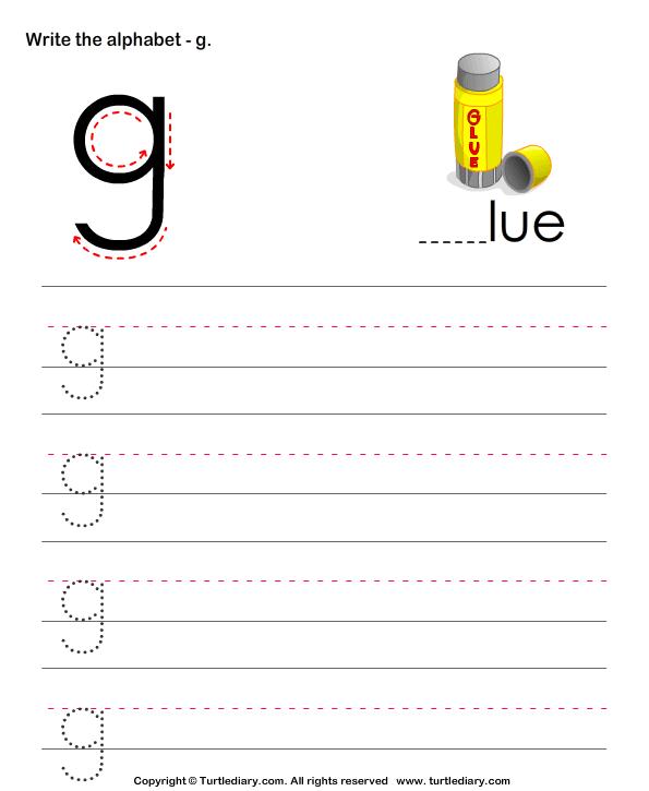 Lowercase Alphabet Writing Practice G Worksheet