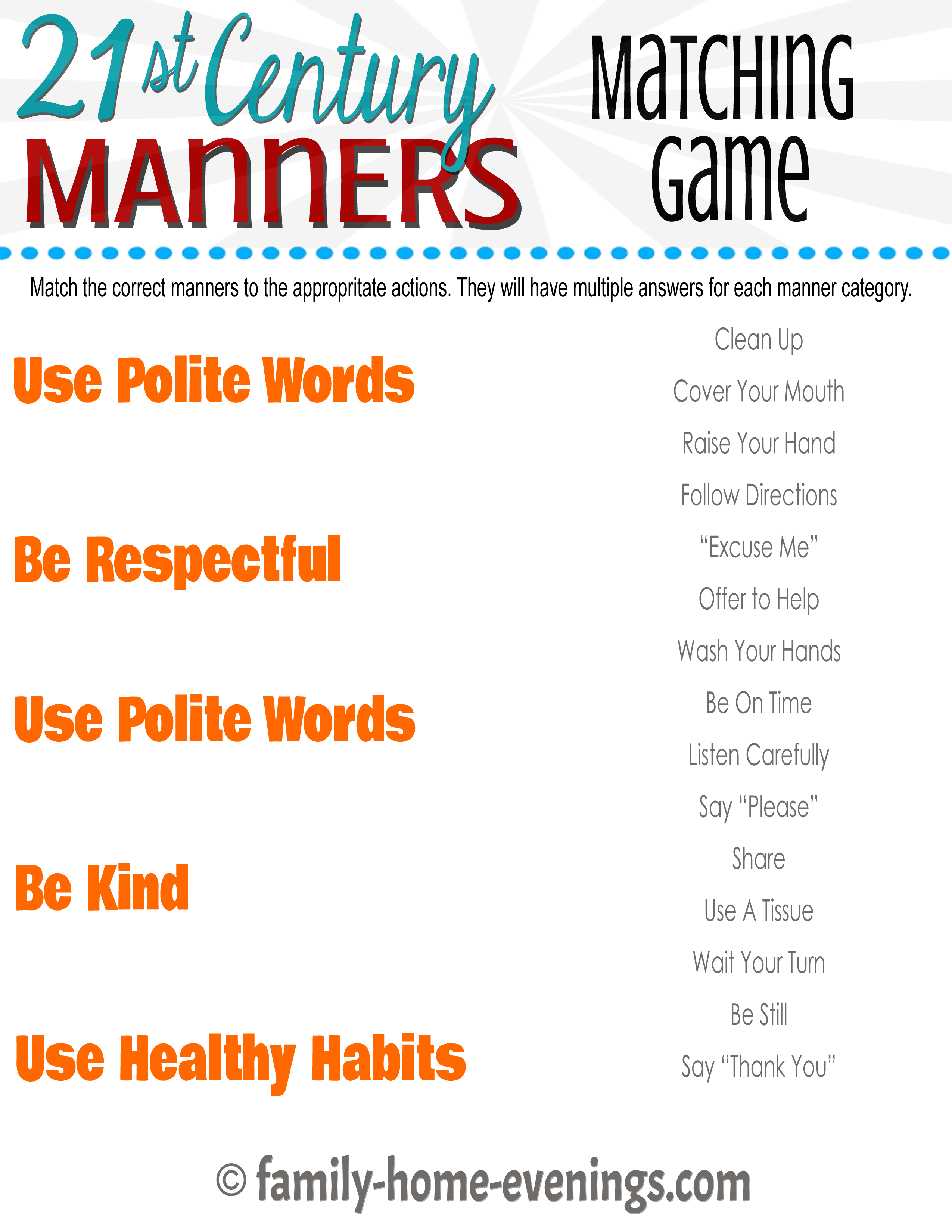 Manners Worksheets For Elementary Students