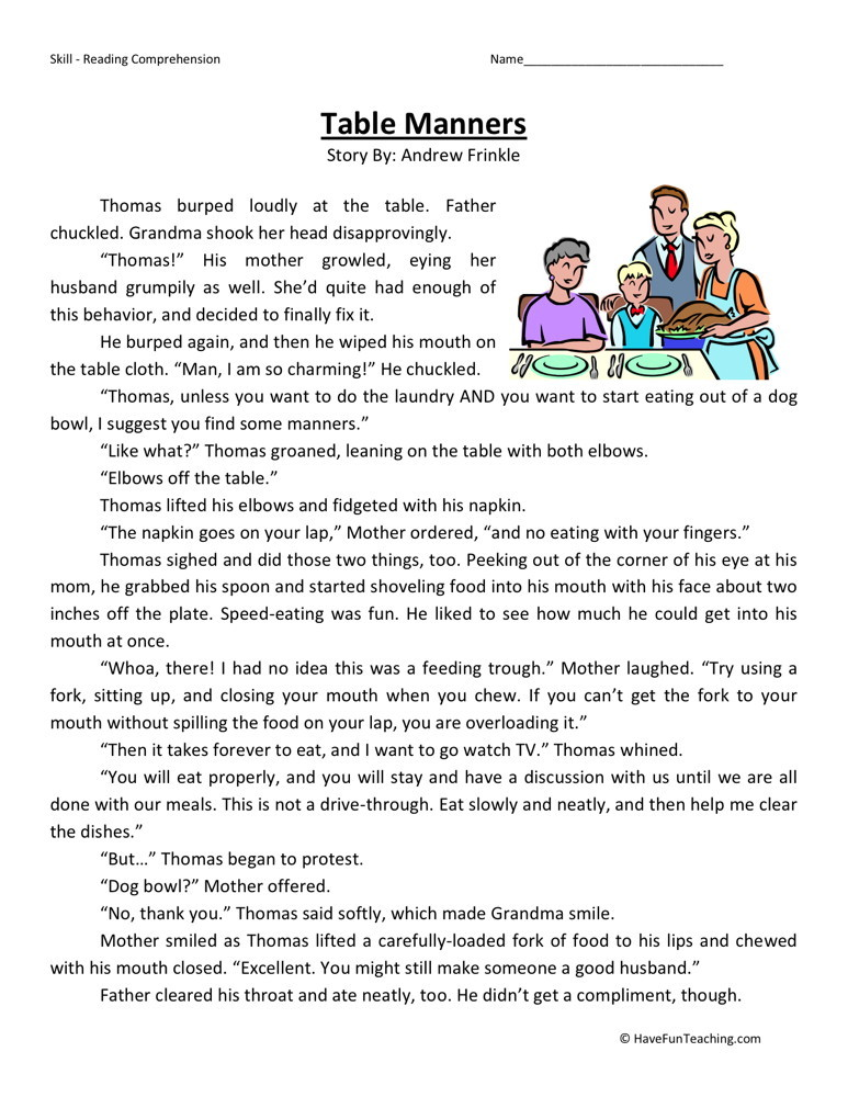 Manners Worksheets Kids 1231126