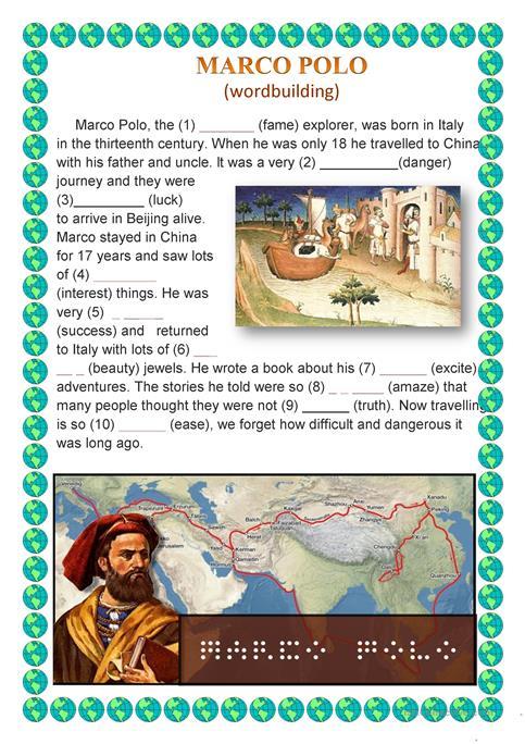 Marco Polo (wordbuilding) Worksheet