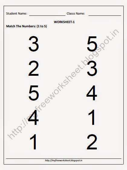 Match The Number Worksheet For Nursery Children ~ My Free Worksheet