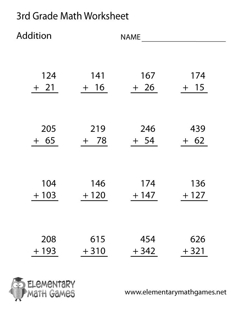 Math Addition Worksheets Third Grade 915096
