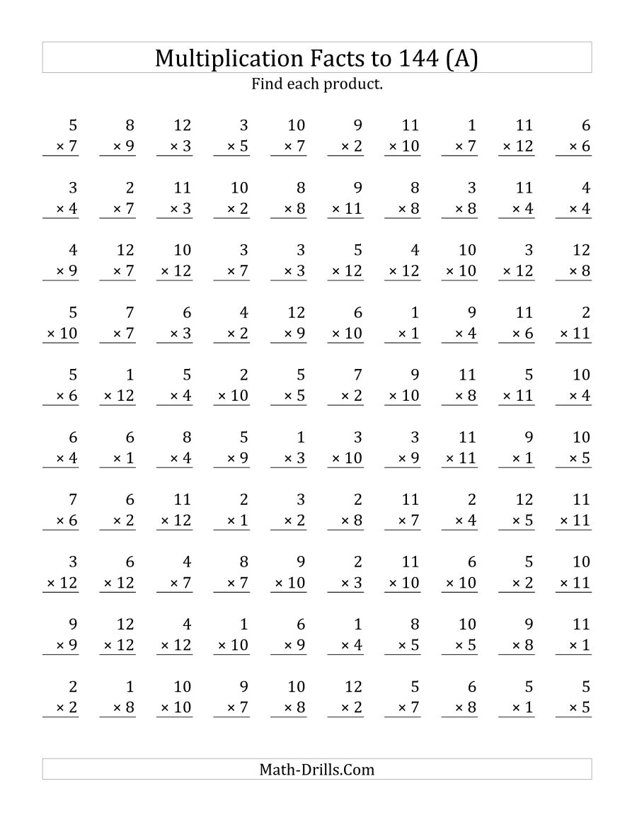 Math Drill Worksheets Multiplication 679046
