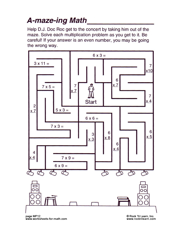 Math Maze Worksheets Middle School 156514