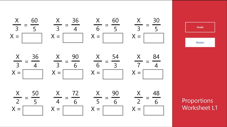 Math Practice Worksheets Proportions 54371