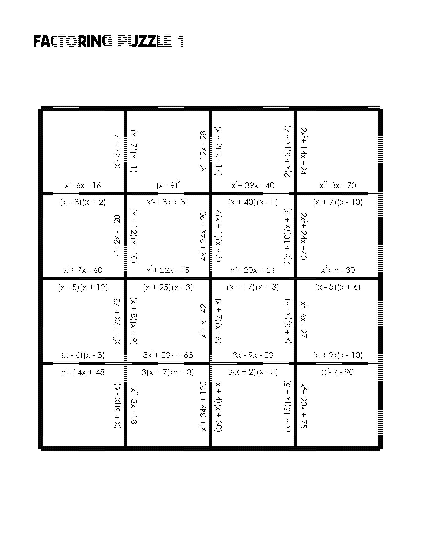Math Puzzle Worksheets Algebra 1 394934