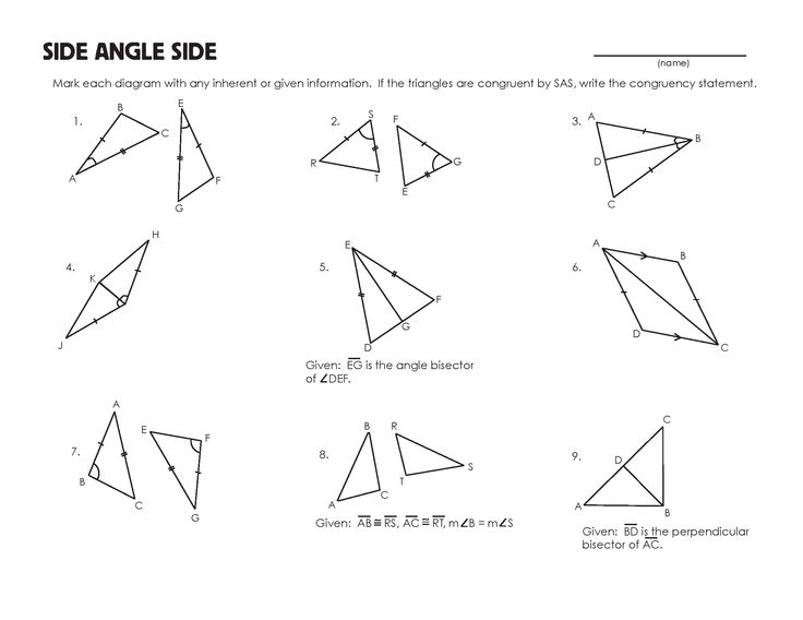 Math Recognizing Congruent Triangles Worksheets 595904