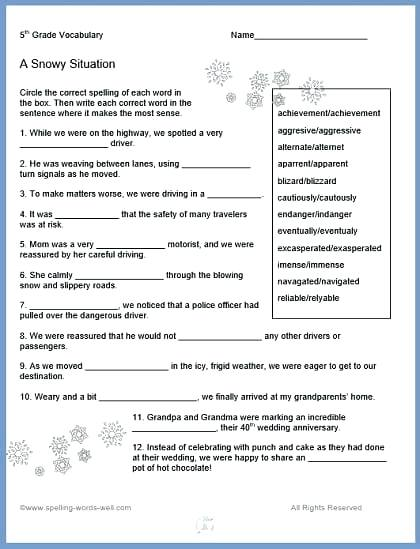 Math Vocabulary Worksheets 6th Grade  800032