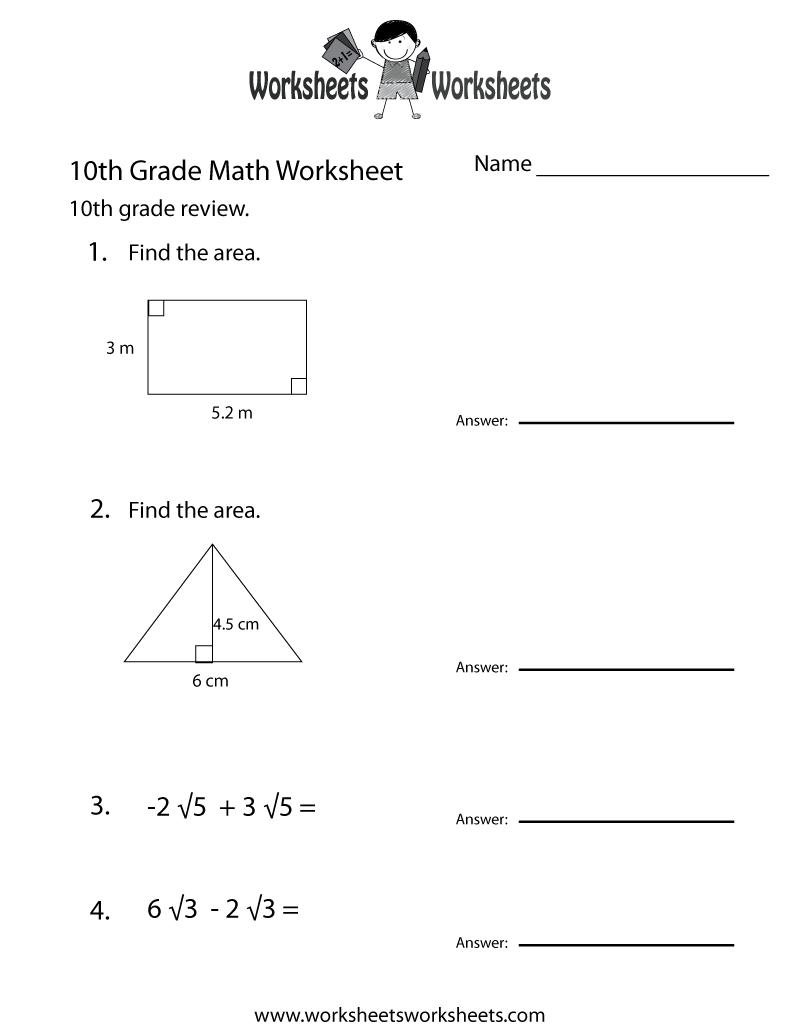 Math Worksheets 10th Grade 716204