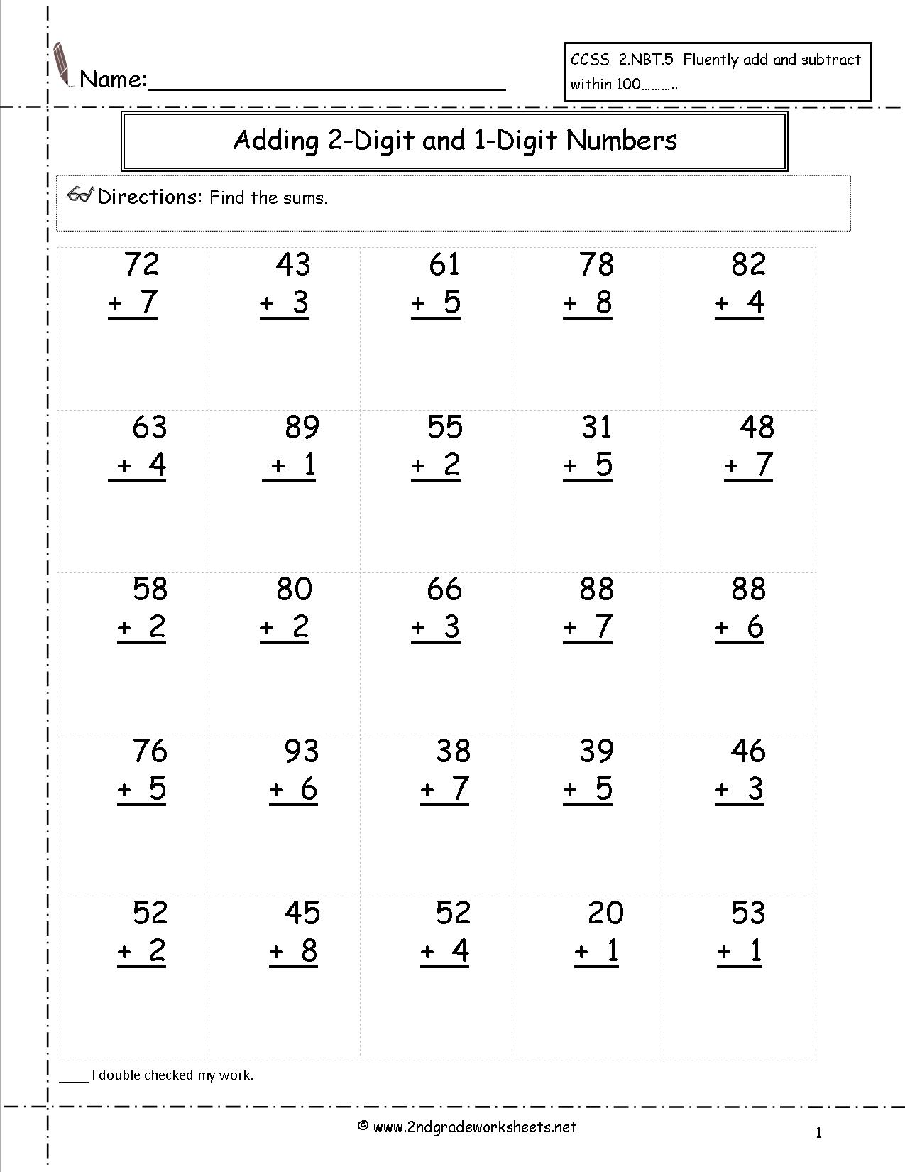 Math Worksheets Adding 2 Digit Numbers Without Regrouping 1372308