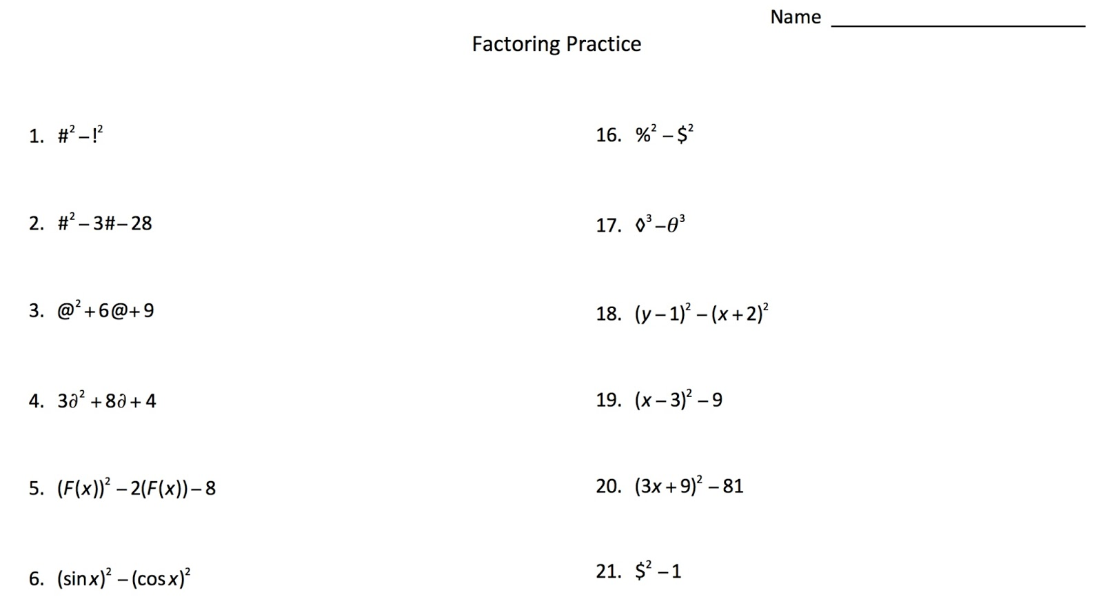 Math Worksheets Algebra Factoring 925834