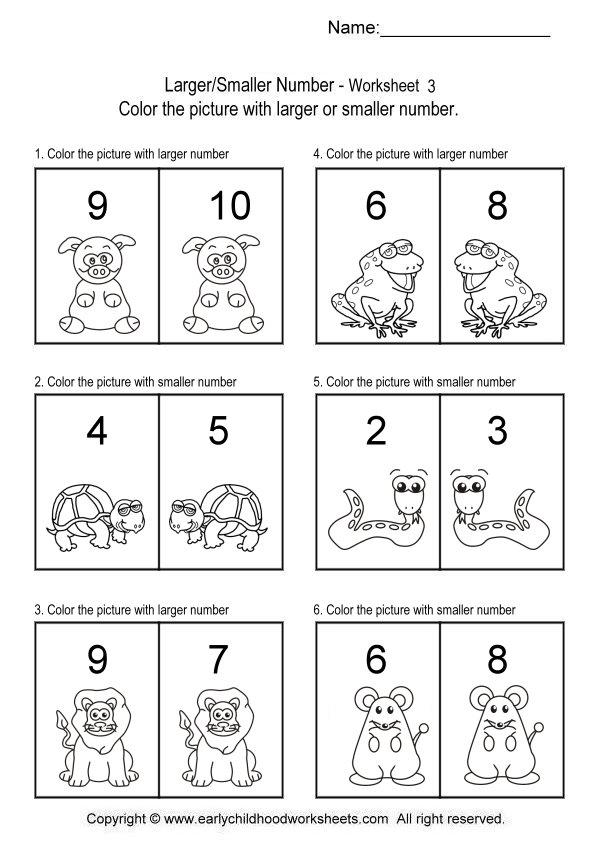 Math Worksheets Bigger Smaller Numbers 1316620