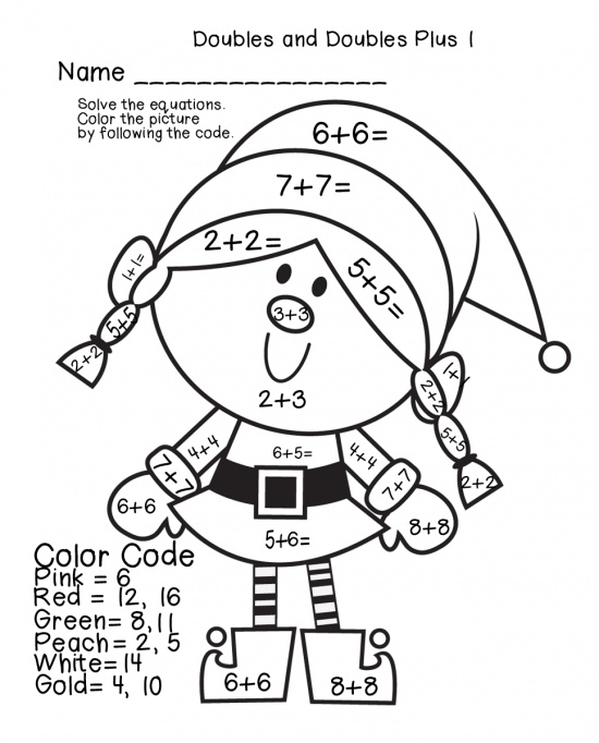 Math Worksheets Color By Number Christmas