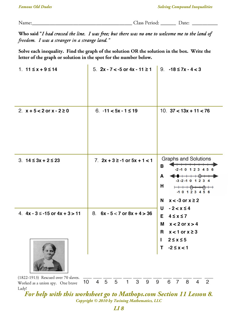Math Worksheets Compound Inequalities 1023856