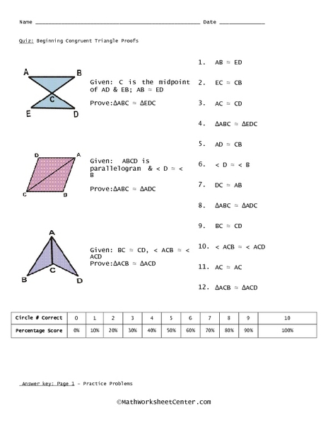 Math Worksheets Congruent Triangle Proofs 365214