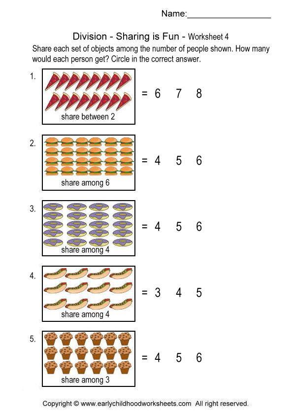 Math Worksheets Division Sharing 19819