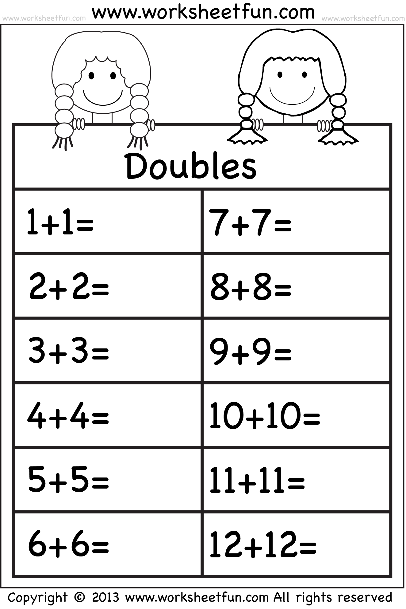 Math Worksheets Doubles 968734