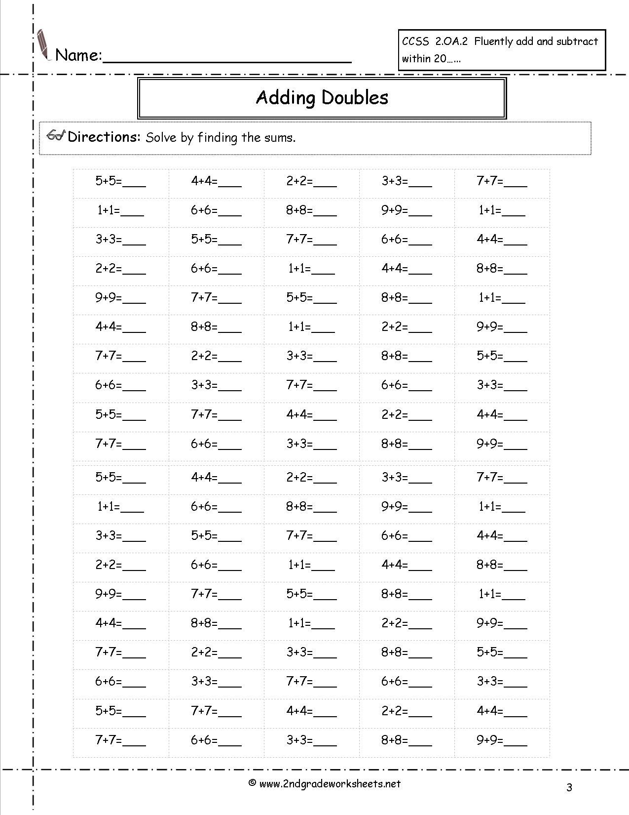 Math Worksheets Doubles Addition 1342737