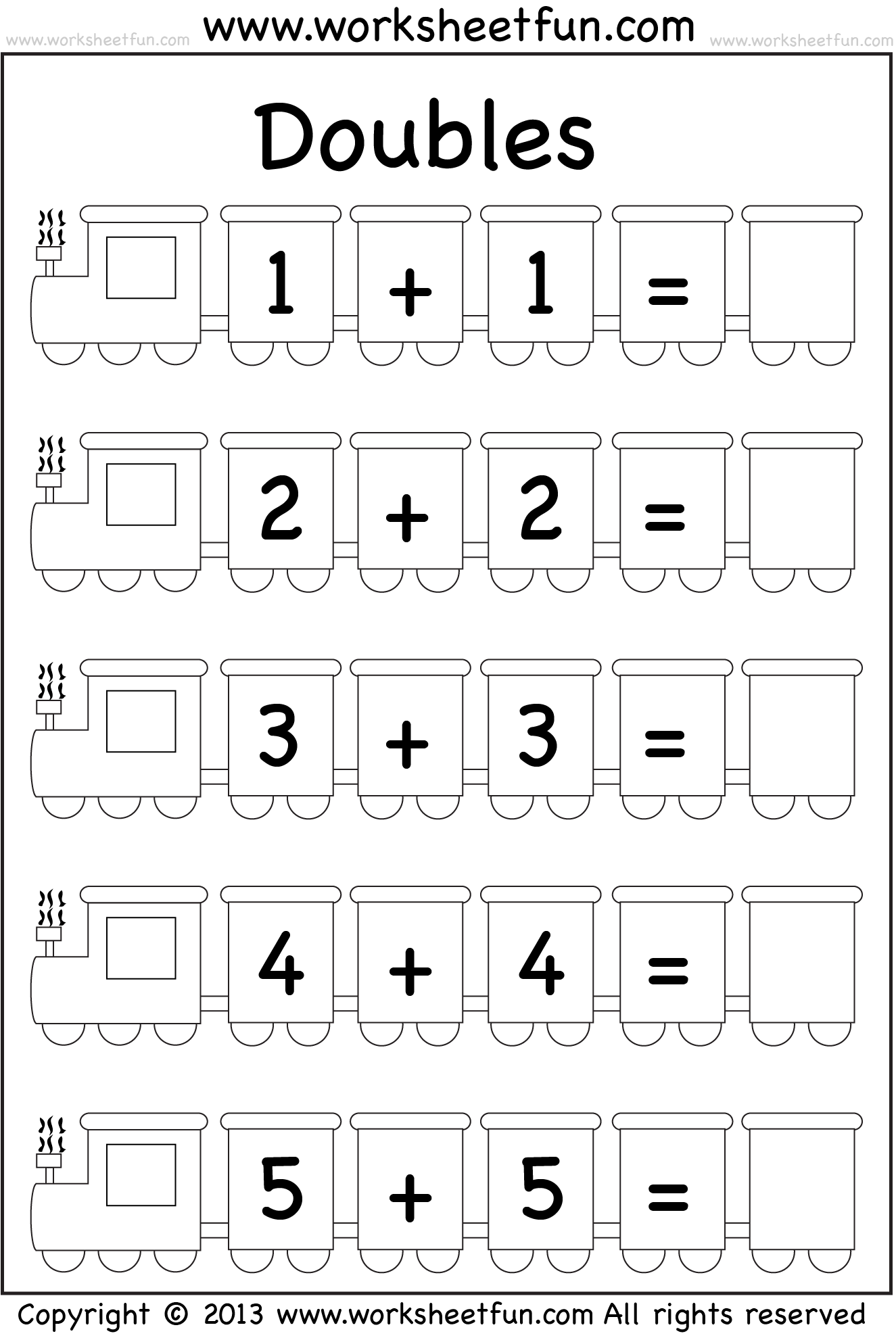 Math Worksheets First Grade Doubles 380204