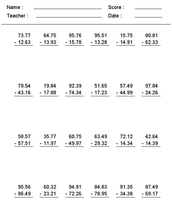Math Worksheets For 7th Grade Subtraction Learning Printable 600