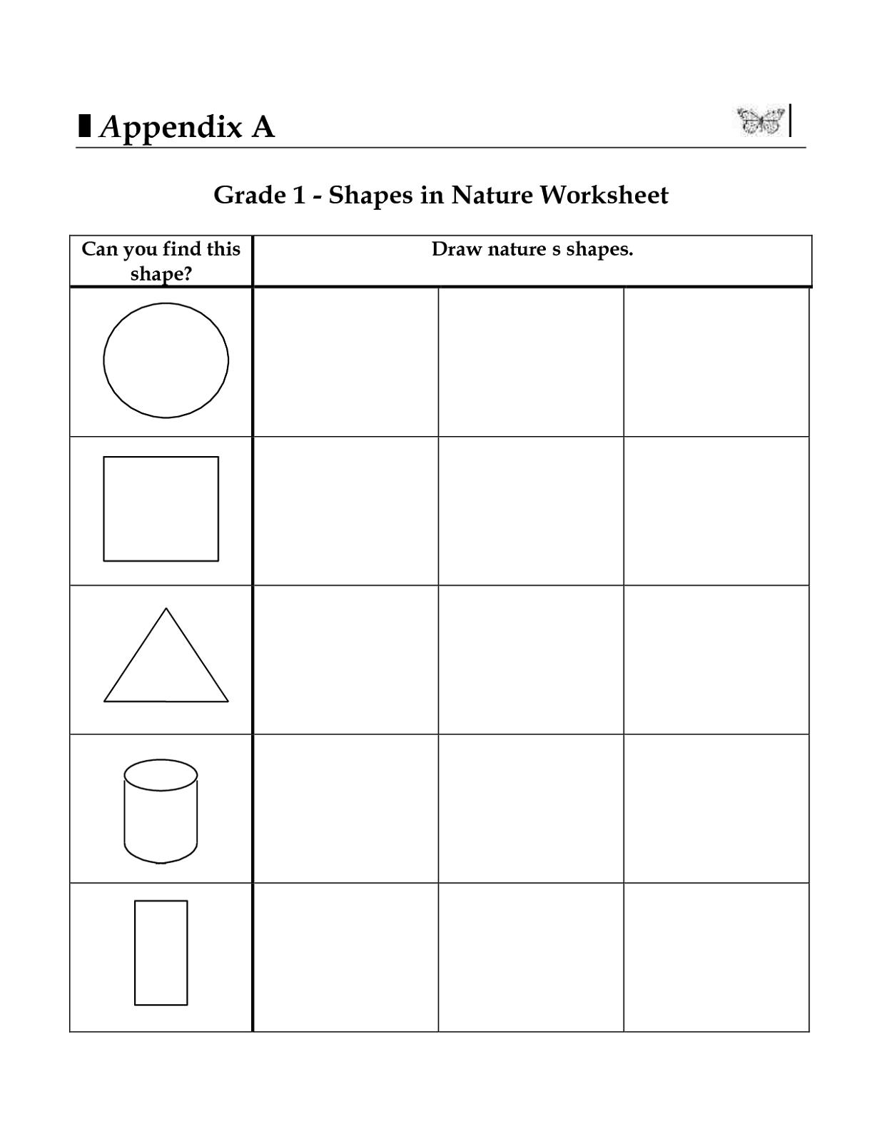 Math Worksheets For Grade 1 On Shapes 1246687