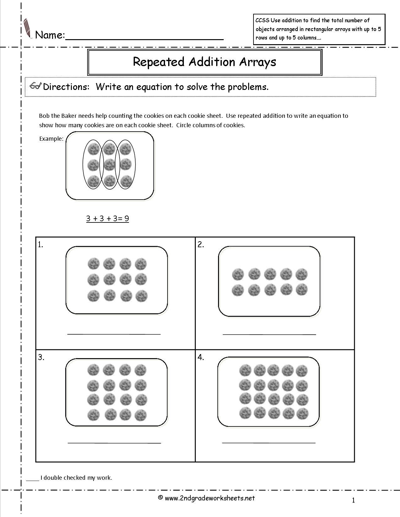 Math Worksheets For Grade 2 Arrays 987745
