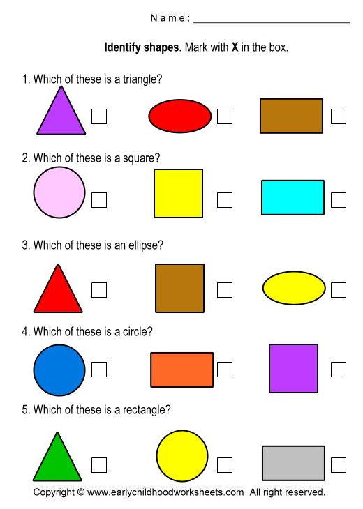 Math Worksheets For Kindergarten Shapes  817135