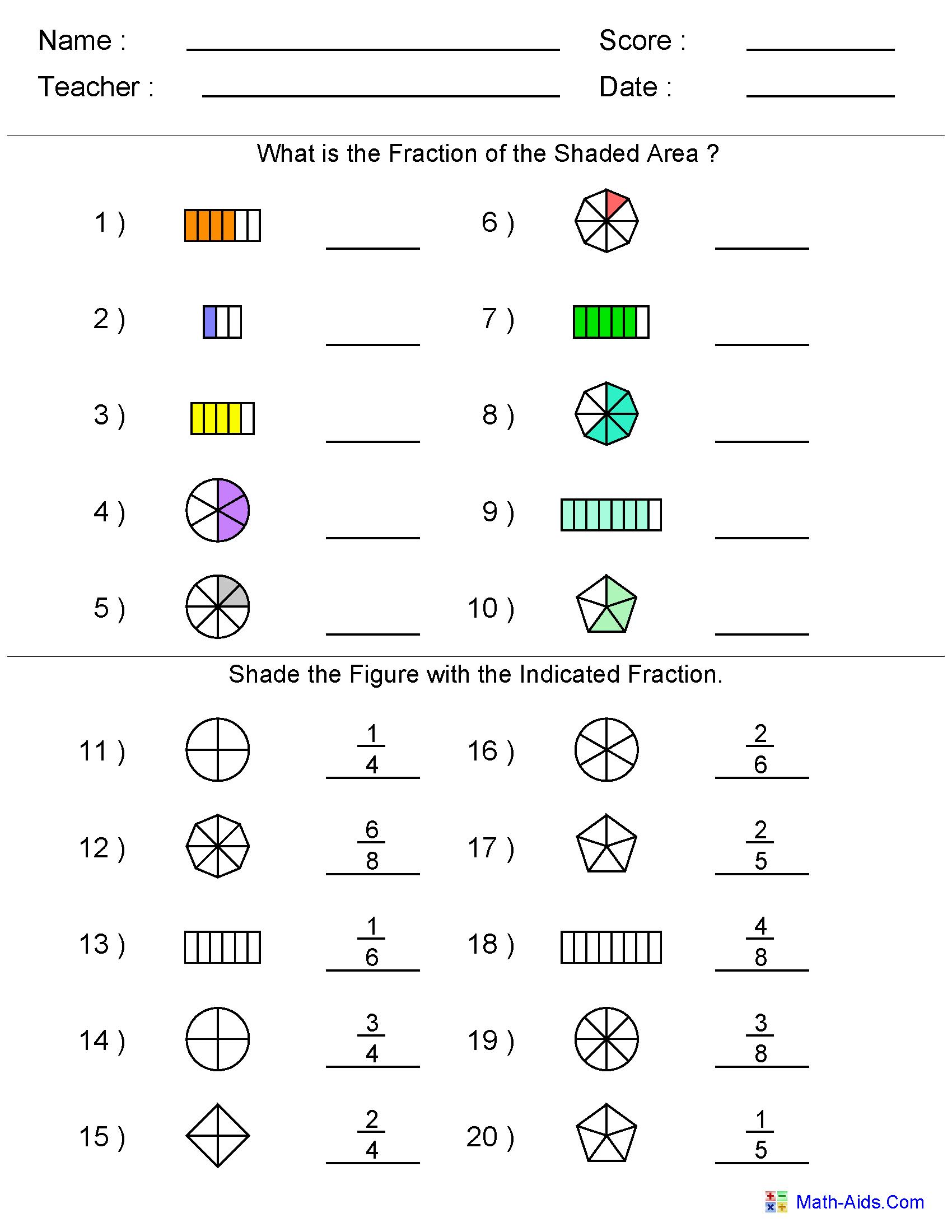 Math Worksheets Fractions Grade 2 1152395