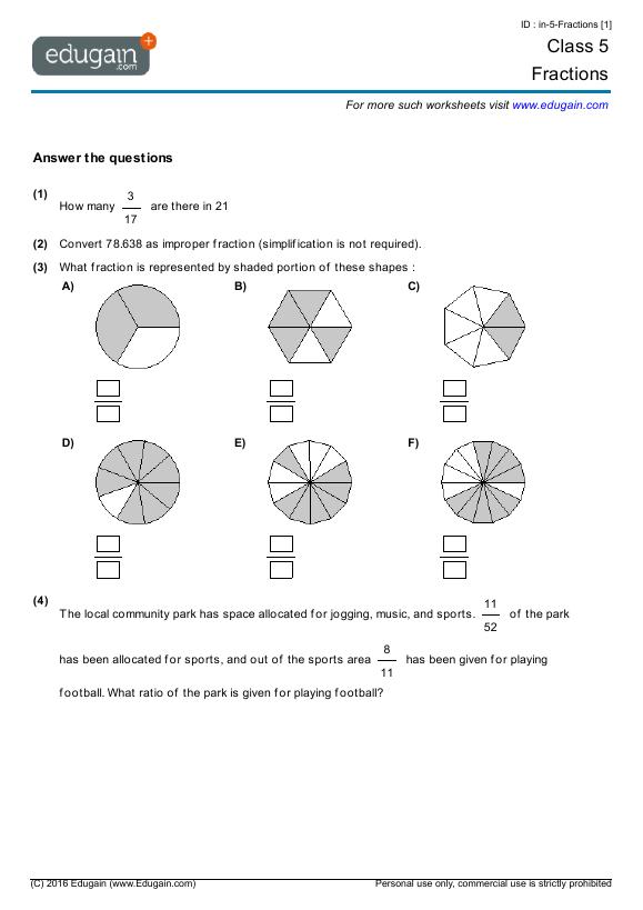 Math Worksheets Fractions Grade 5  1061556