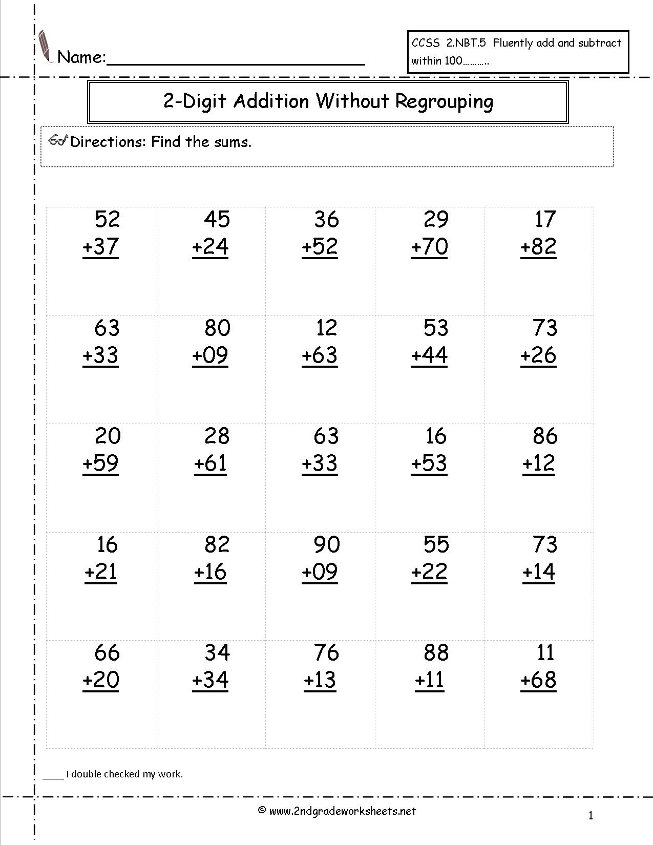 Math Worksheets Grade 2 Addition With Regrouping 526824