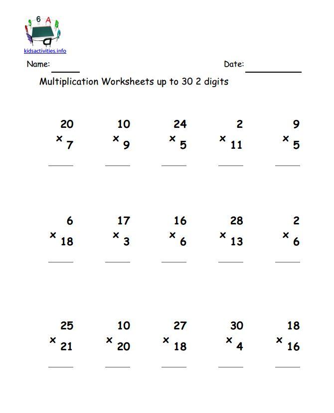 Math Worksheets Multiplication Grade 2 217450