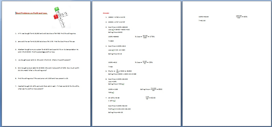 Math Worksheets On Profit And Loss For Grade 5 581146