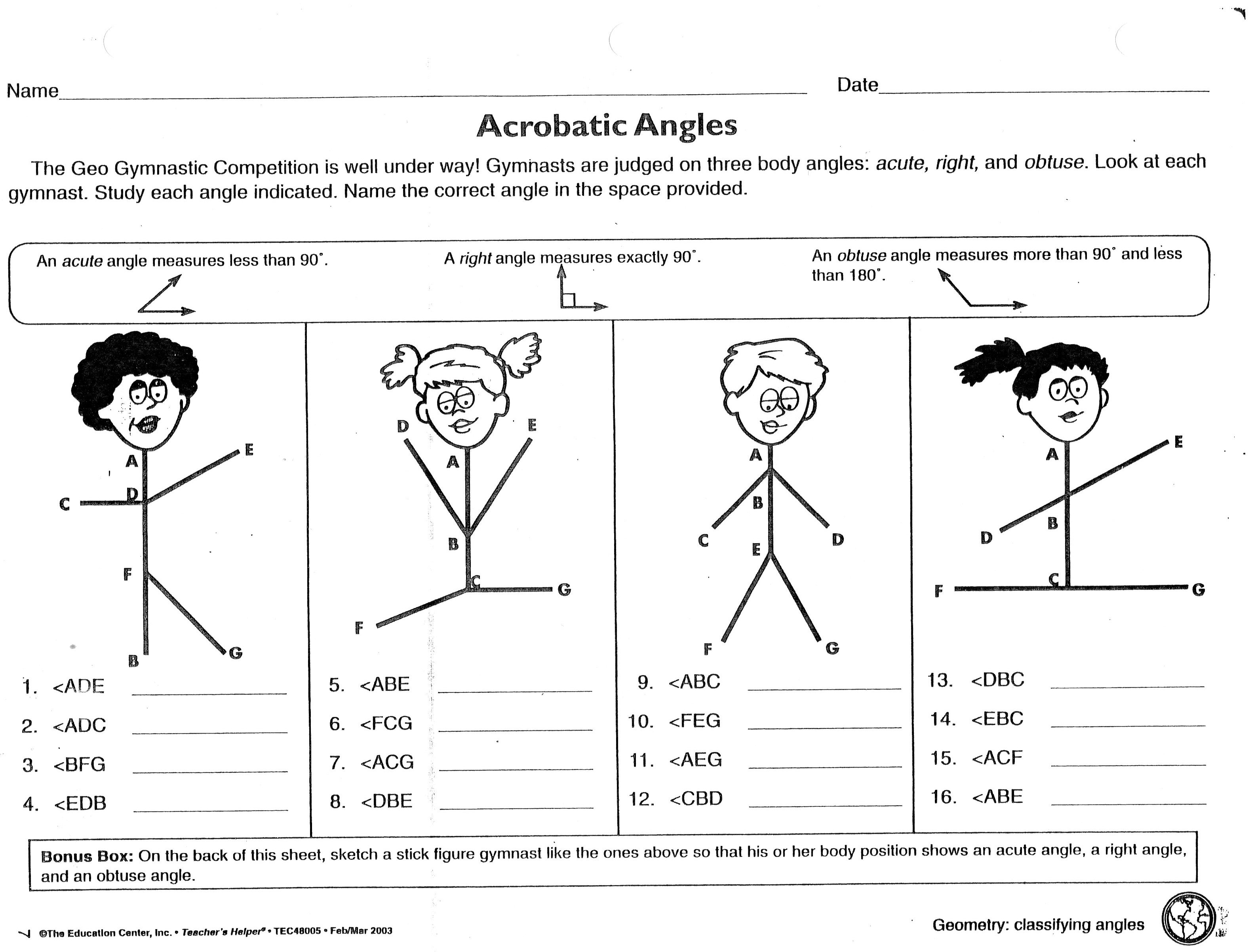 Math Worksheets On Types Of Angles 639506