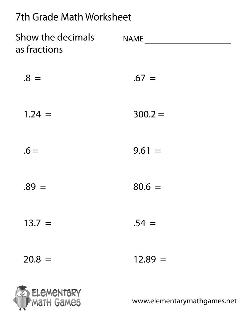 Math Worksheets Printable 7th Grade 881664