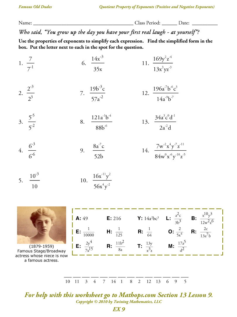 Math Worksheets Properties Of Exponents 585846
