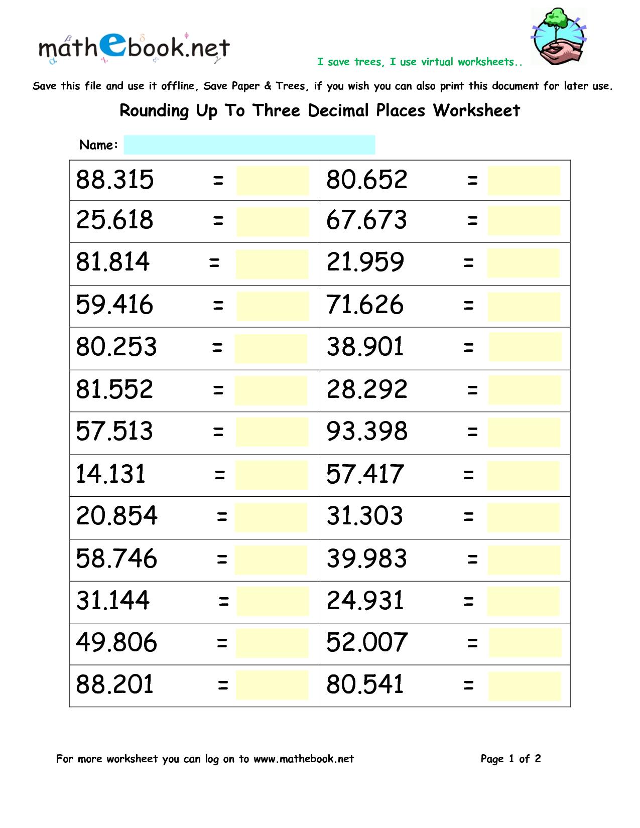 Math Worksheets Rounding Decimals 831198