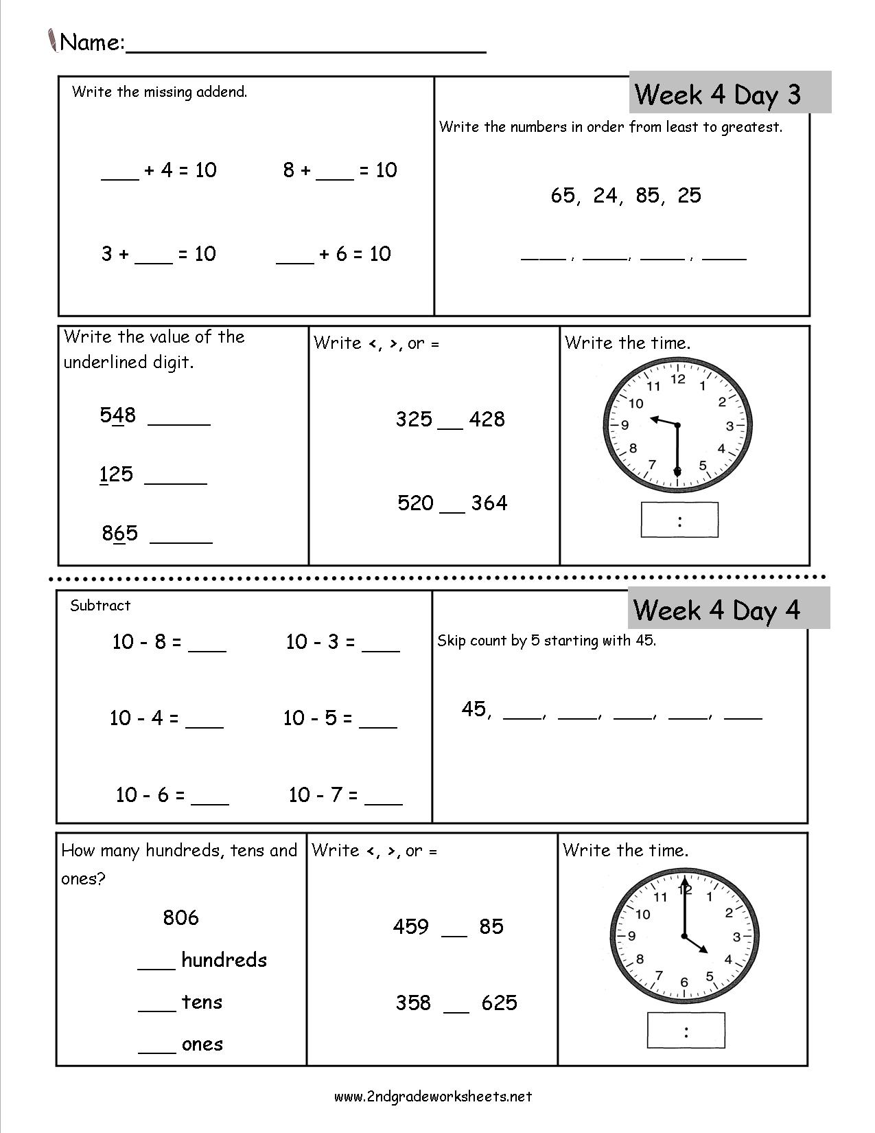 Math Worksheets Second Grade Free 823556
