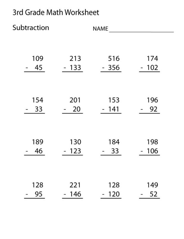 Math Worksheets Third Grade Printable 1202098