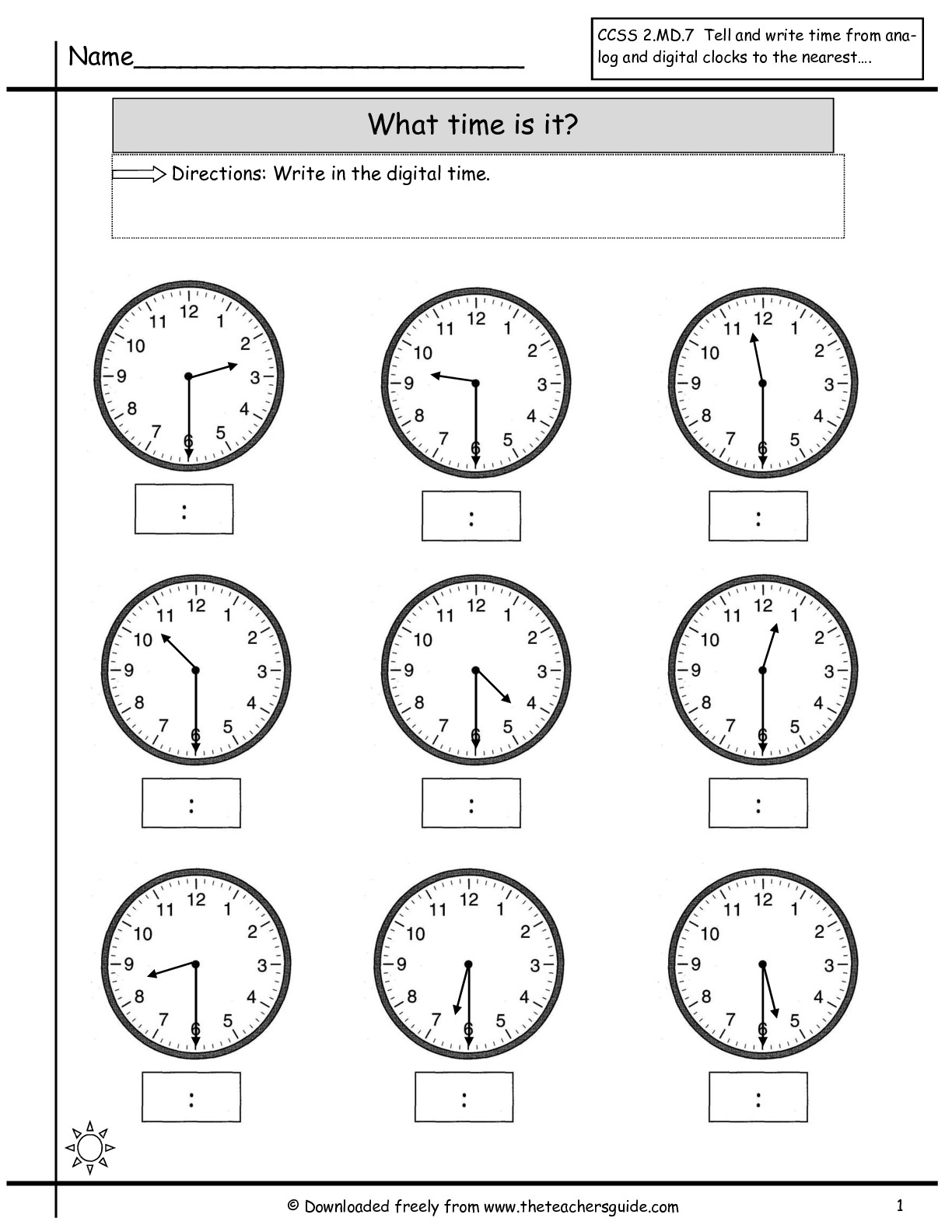 Math Worksheets Time To The Half Hour 1416419