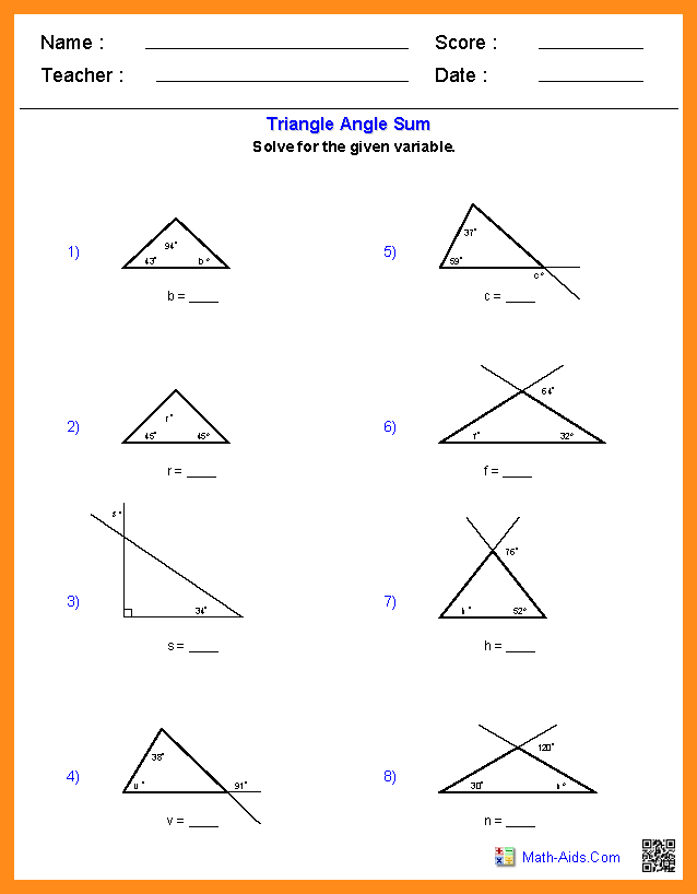 Math Worksheets Triangle Angles 642925