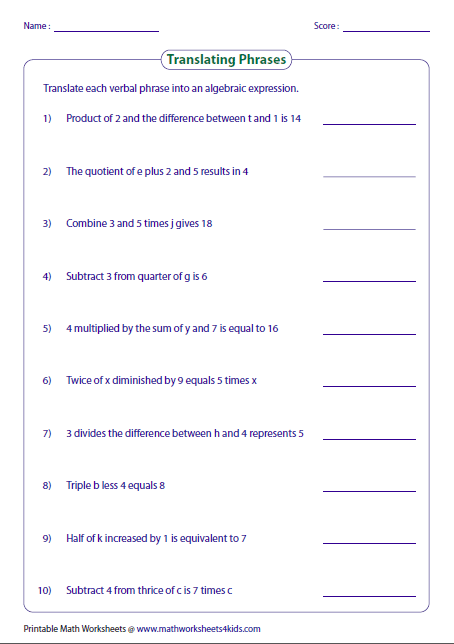Math Worksheets Writing Two Step Equations  424807
