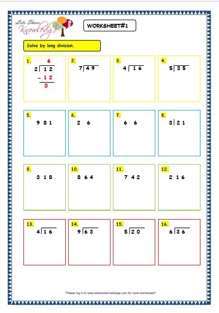 Maths Division Worksheets Grade 3 129278