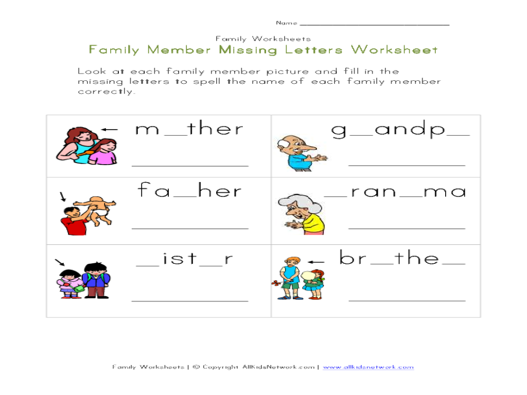 Members Of The Family Worksheets For Kindergarten 1266108