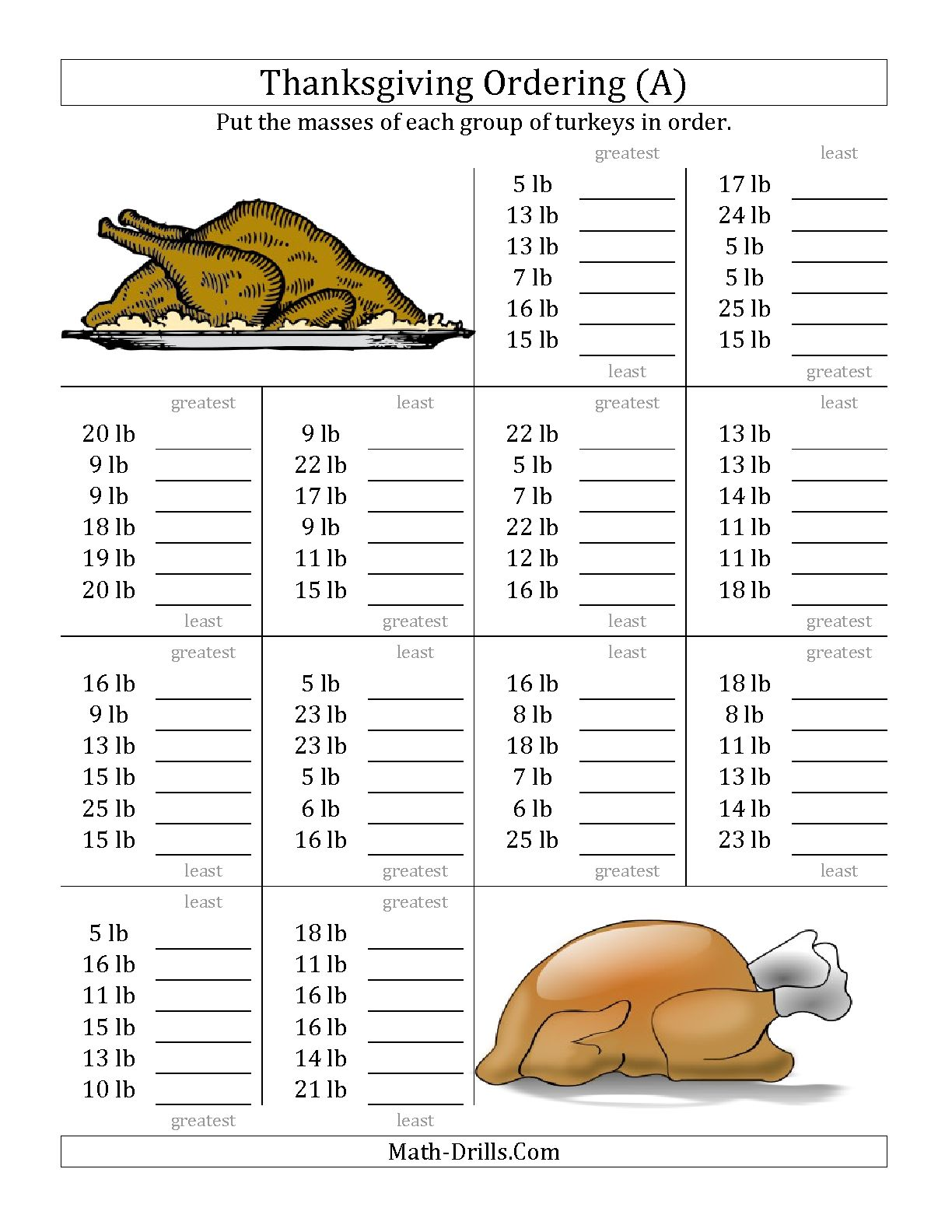 Middle School Math Thanksgiving Worksheets The Best Worksheets