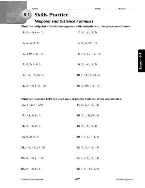 Midpoint And Distance Worksheet The Best Worksheets Image