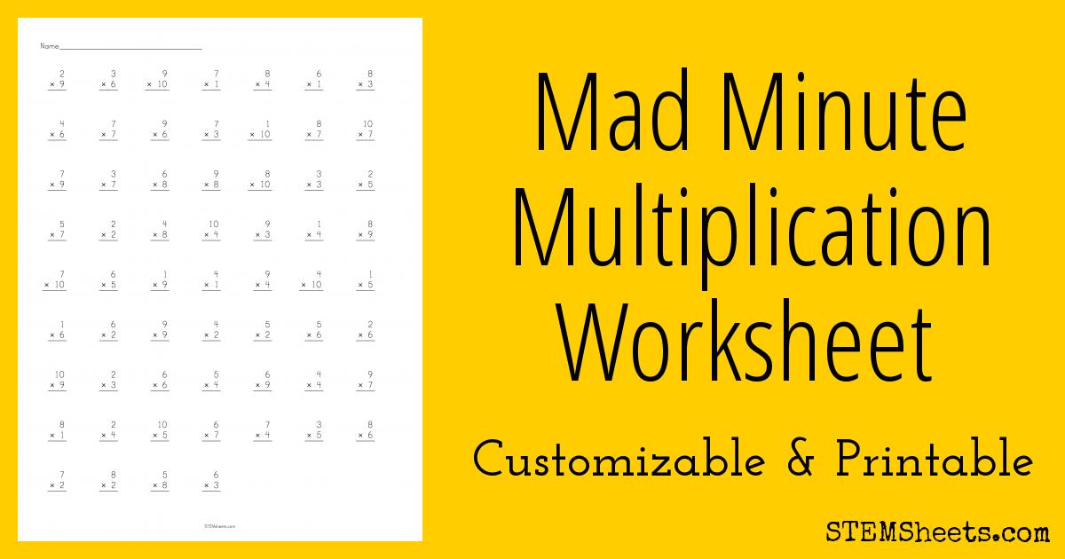 Minute Multiplication Worksheets Mad Minute Multiplication
