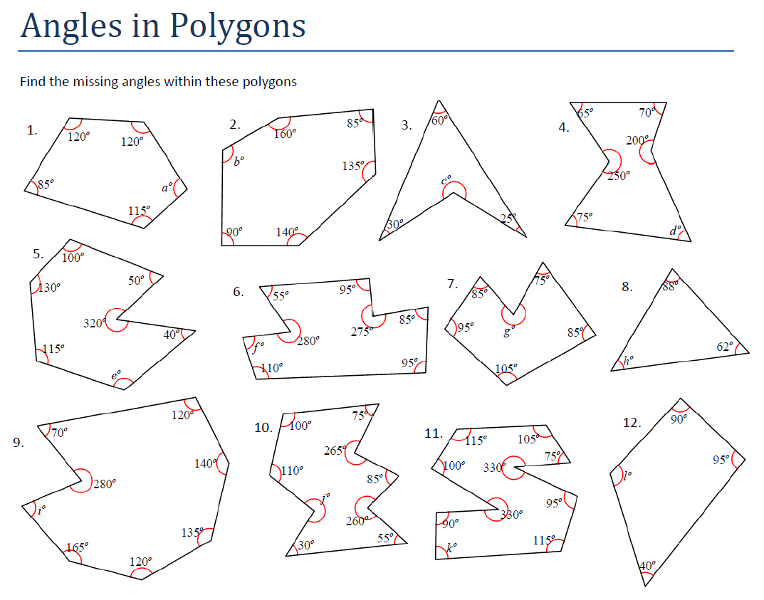 Missing Angles In Polygons Worksheet Davezan, Polygon Worksheet