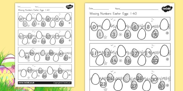 Missing Numbers Easter Eggs Worksheet 0 40