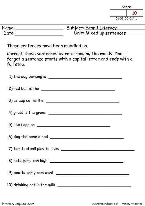 Mixed Up Sentences 1