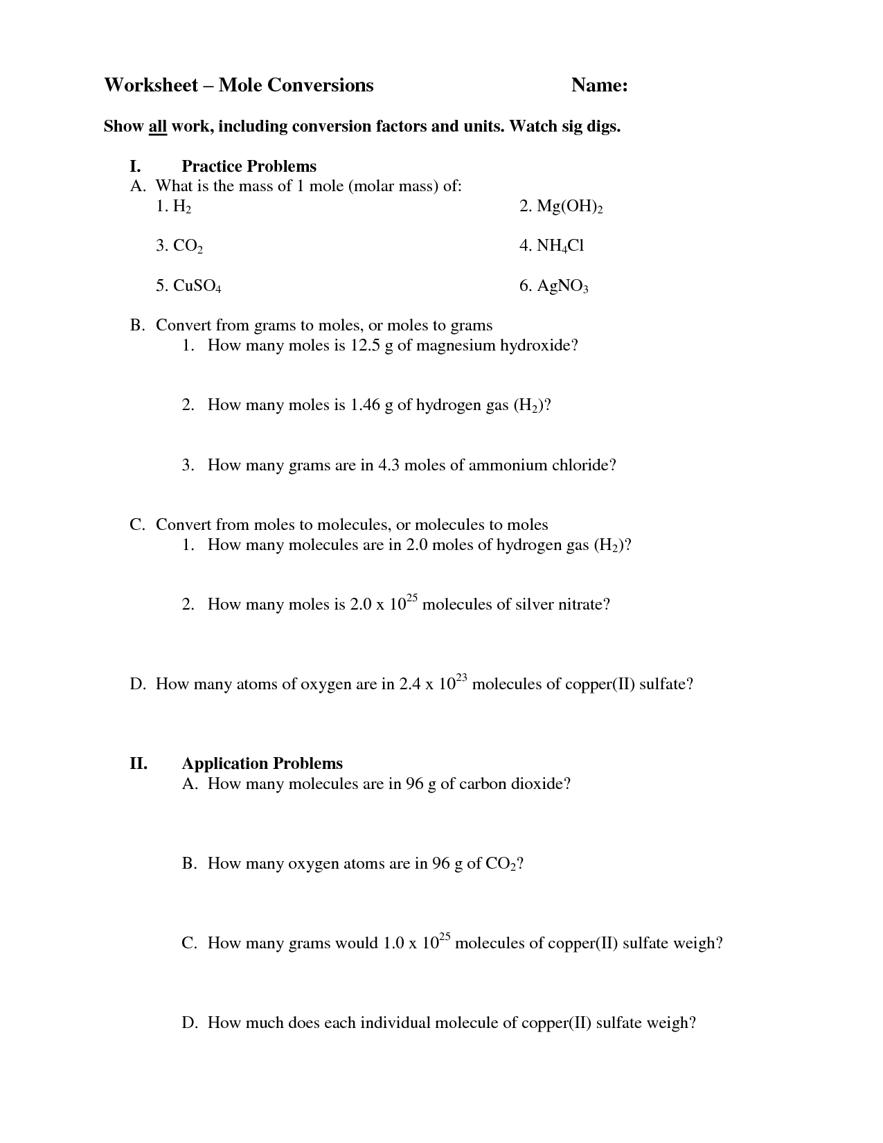 Mole Mole Stoichiometry Worksheet  671176
